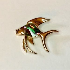 Vtg Sarah Coventry Fish Brooch w/ Watermelon RS